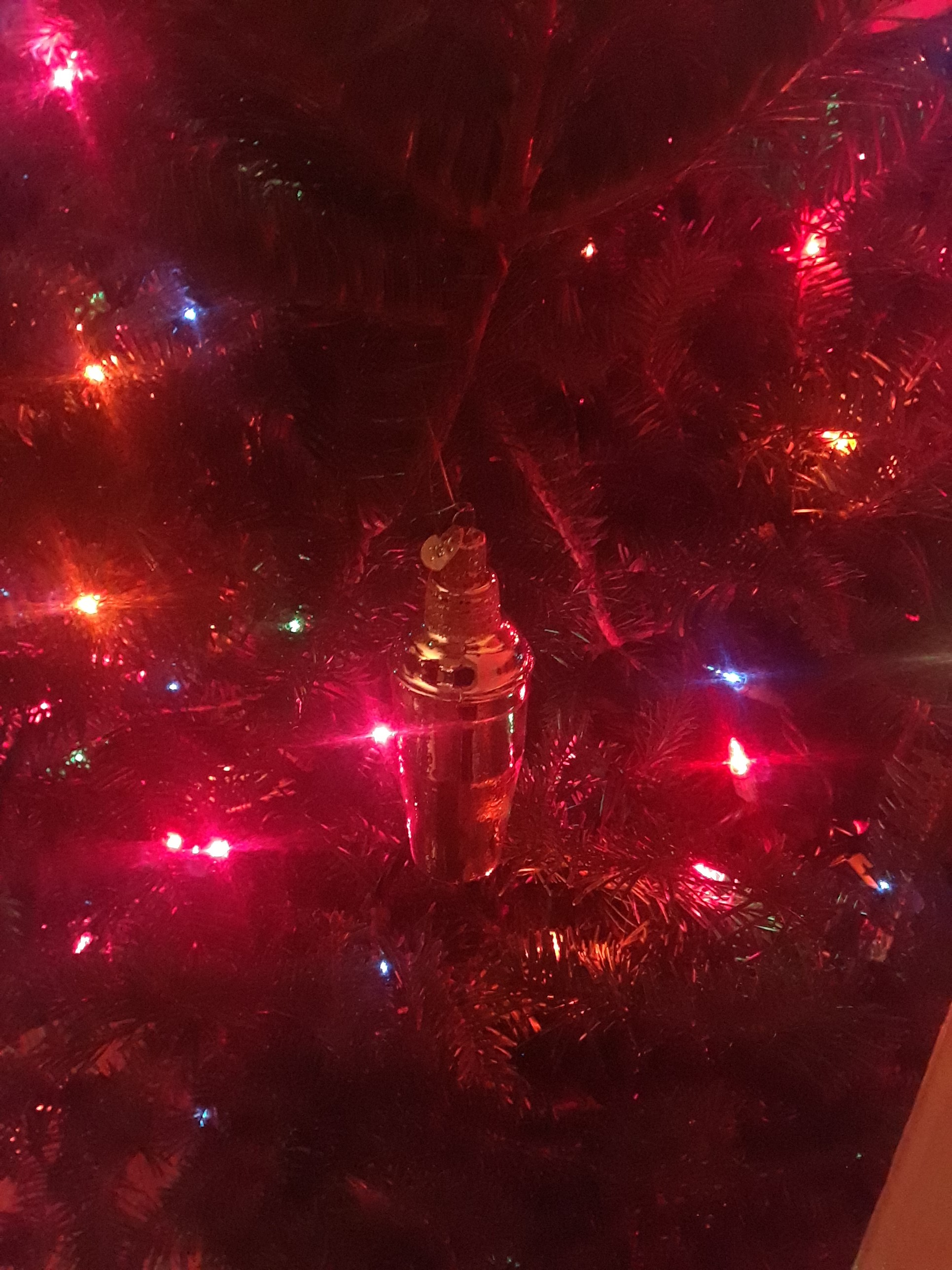 This year's new ornament, a cocktail shaker, Dec 2018